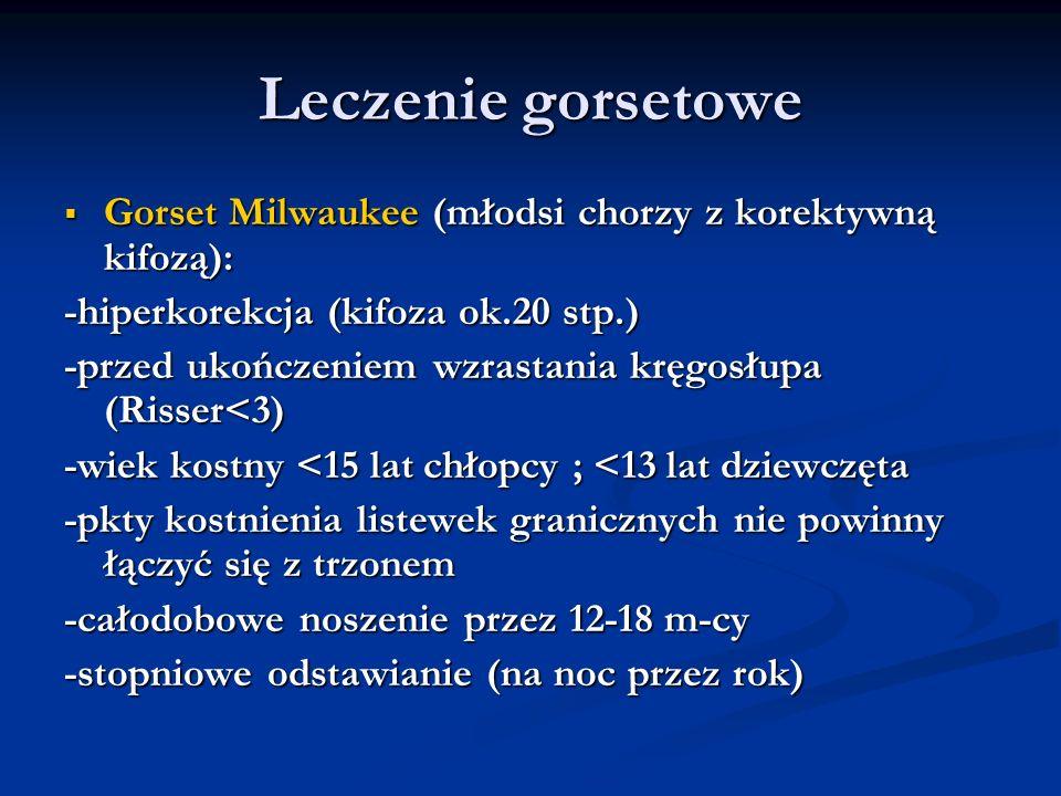 Leczenie gorsetowe Gorset Milwaukee (młodsi chorzy z korektywną kifozą): -hiperkorekcja (kifoza ok.20 stp.)