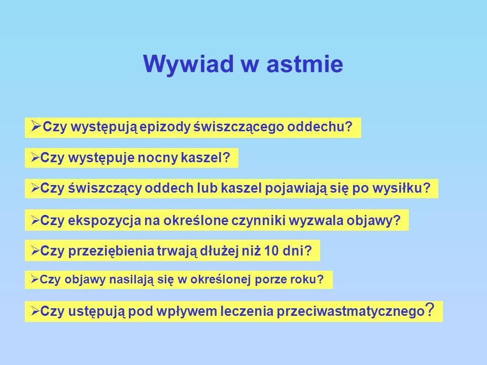 Wywiad w astmie Czy występują epizody świszczącego oddechu