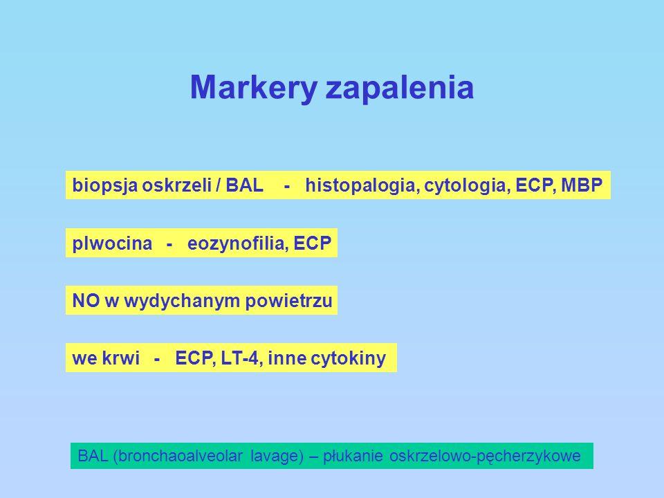 Markery zapaleniabiopsja oskrzeli / BAL - histopalogia, cytologia, ECP, MBP. plwocina - eozynofilia, ECP.