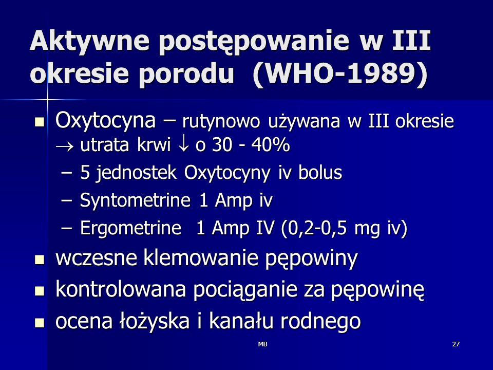 Aktywne postępowanie w III okresie porodu (WHO-1989)