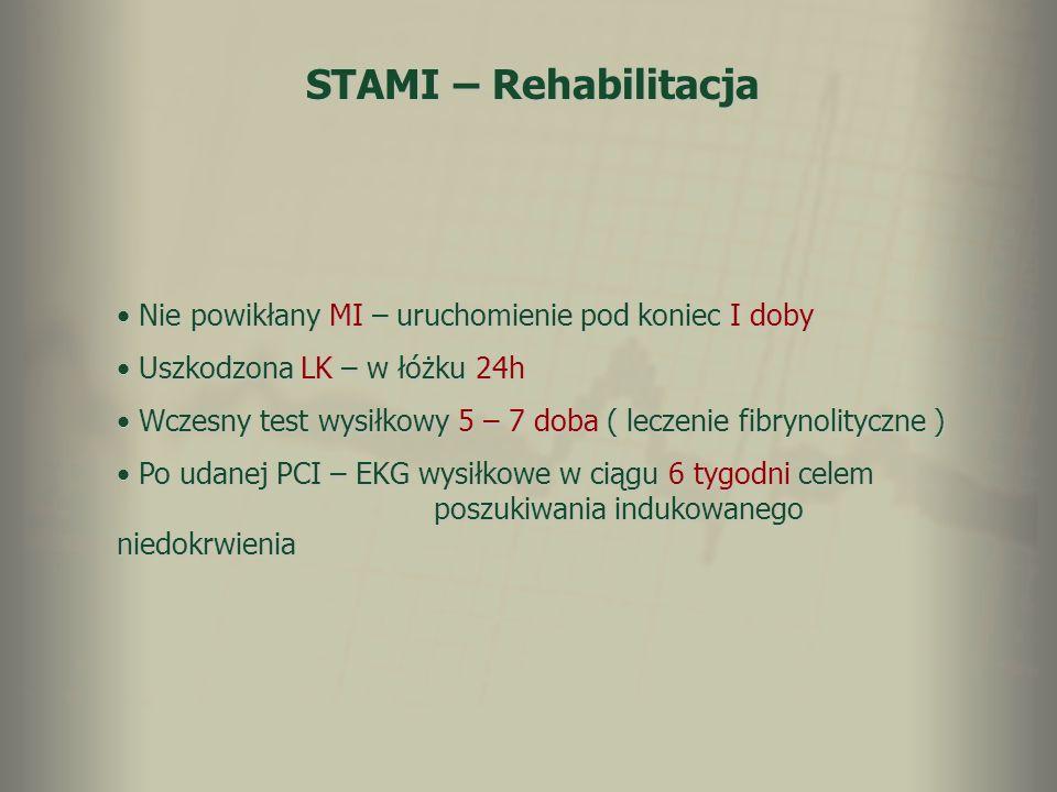STAMI – Rehabilitacja Nie powikłany MI – uruchomienie pod koniec I doby. Uszkodzona LK – w łóżku 24h.