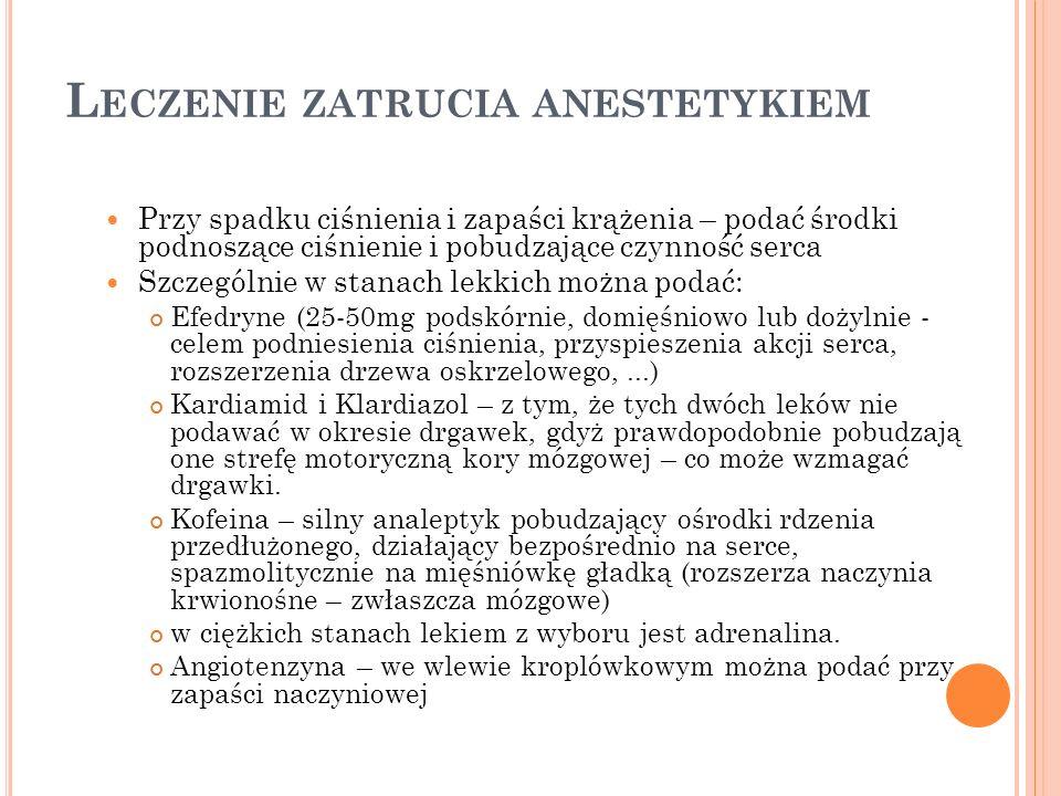 Leczenie zatrucia anestetykiem