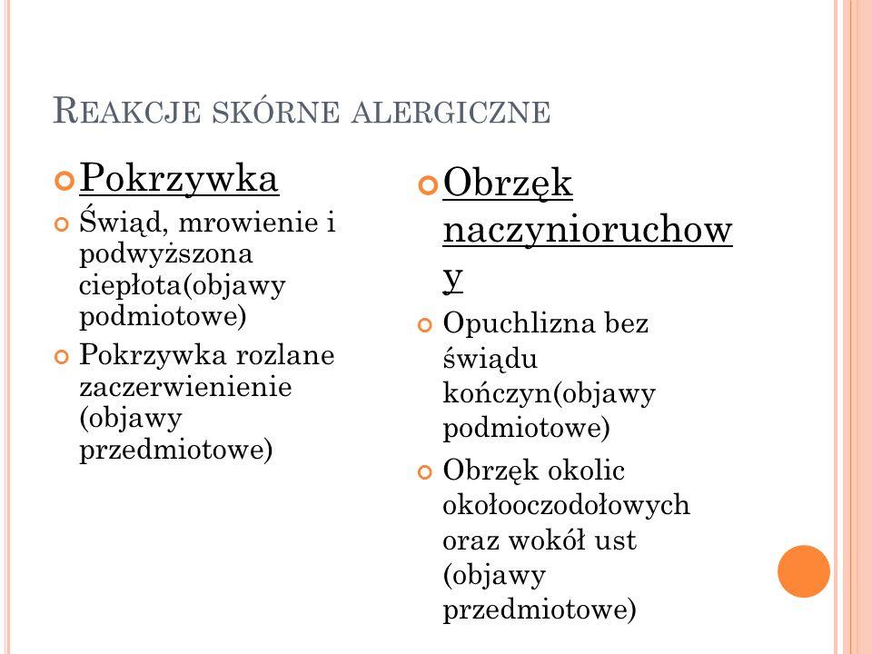 Reakcje skórne alergiczne