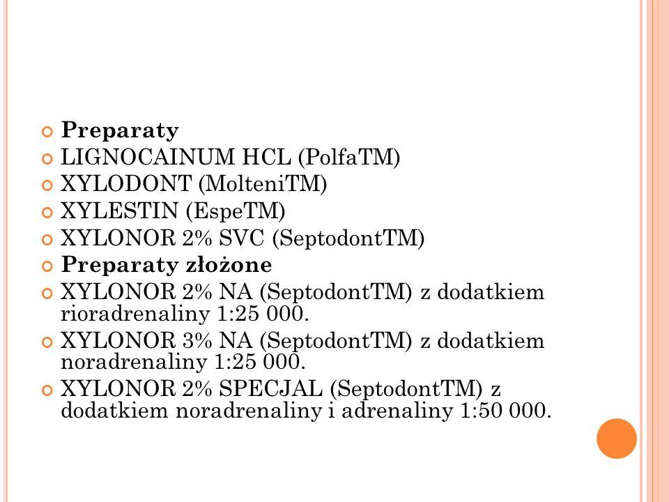 Preparaty LIGNOCAINUM HCL (PolfaTM) XYLODONT (MolteniTM) XYLESTIN (EspeTM) XYLONOR 2% SVC (SeptodontTM)