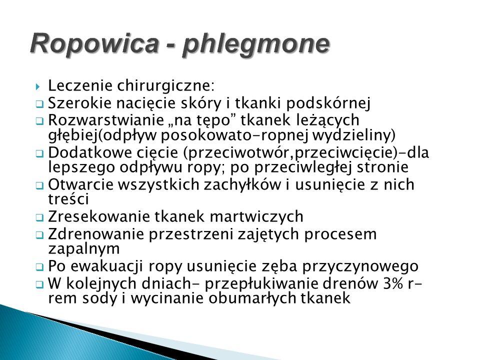 Ropowica - phlegmone Leczenie chirurgiczne: