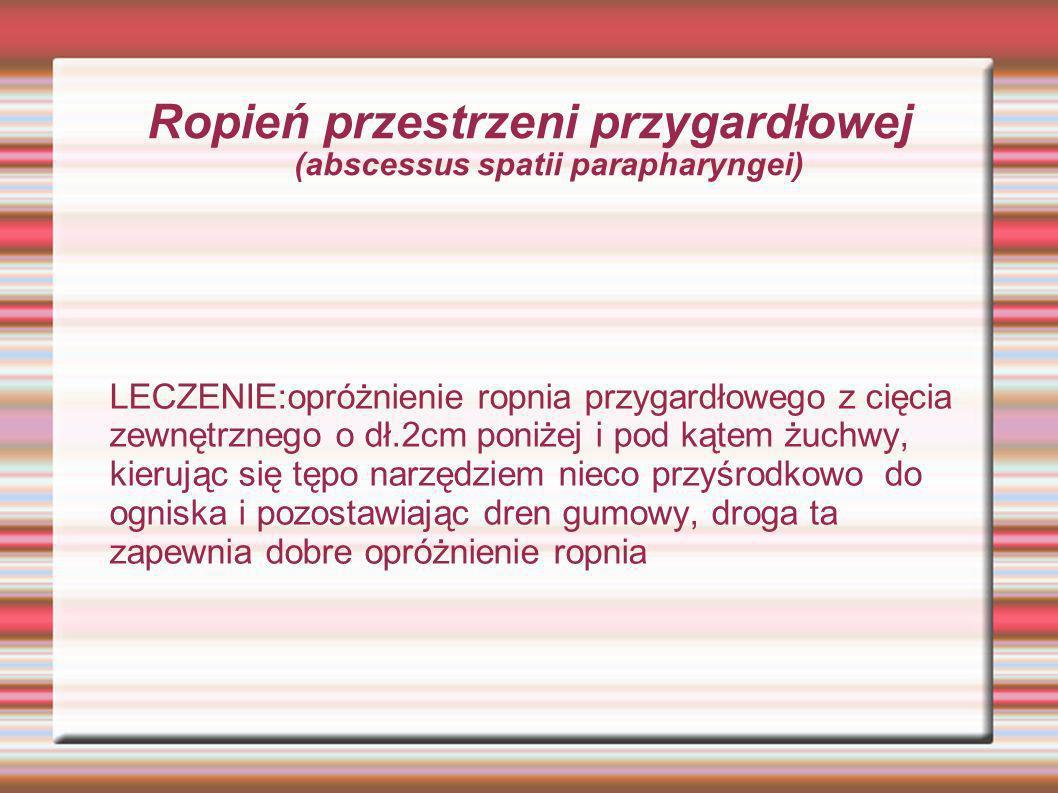 Ropień przestrzeni przygardłowej (abscessus spatii parapharyngei)