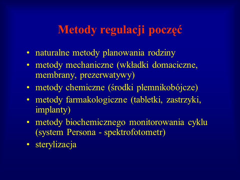 Metody regulacji poczęć