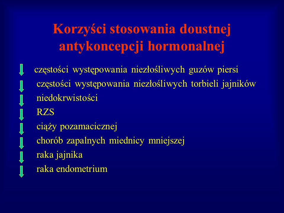 Korzyści stosowania doustnej antykoncepcji hormonalnej