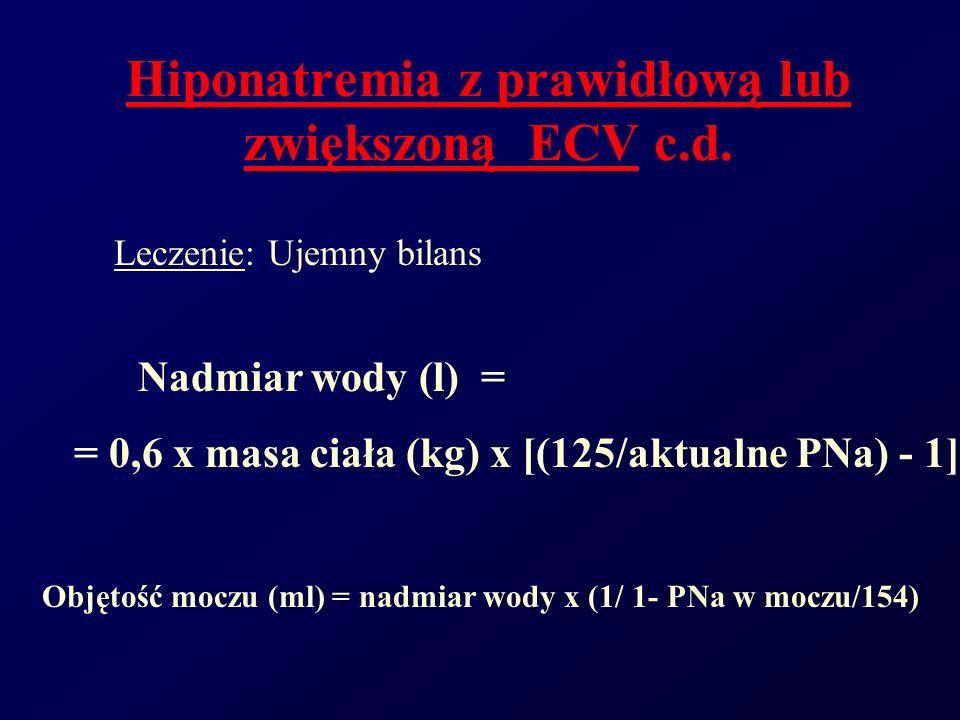 Hiponatremia z prawidłową lub zwiększoną ECV c.d.