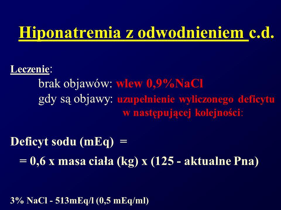 Hiponatremia z odwodnieniem c.d.