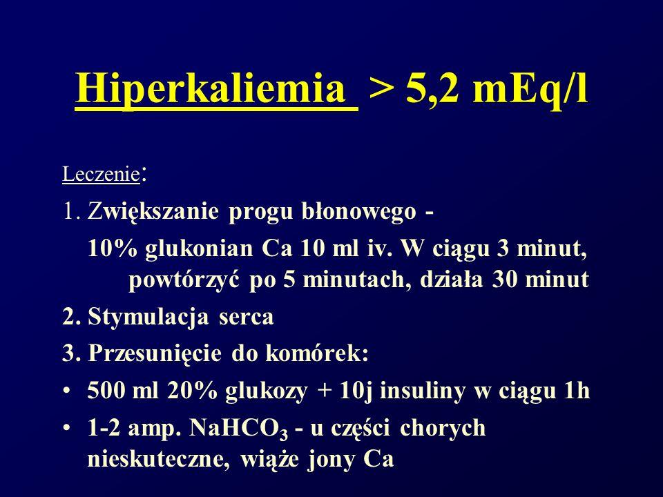 Hiperkaliemia > 5,2 mEq/l