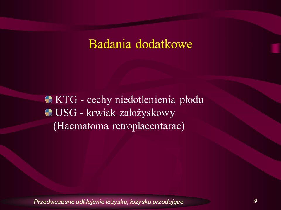 Badania dodatkowe KTG - cechy niedotlenienia płodu