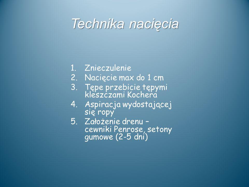 Technika nacięcia Znieczulenie Nacięcie max do 1 cm