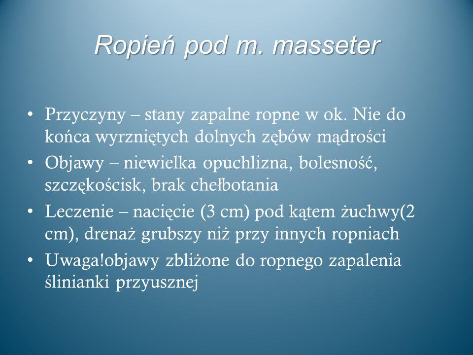 Ropień pod m. masseter Przyczyny – stany zapalne ropne w ok. Nie do końca wyrzniętych dolnych zębów mądrości.