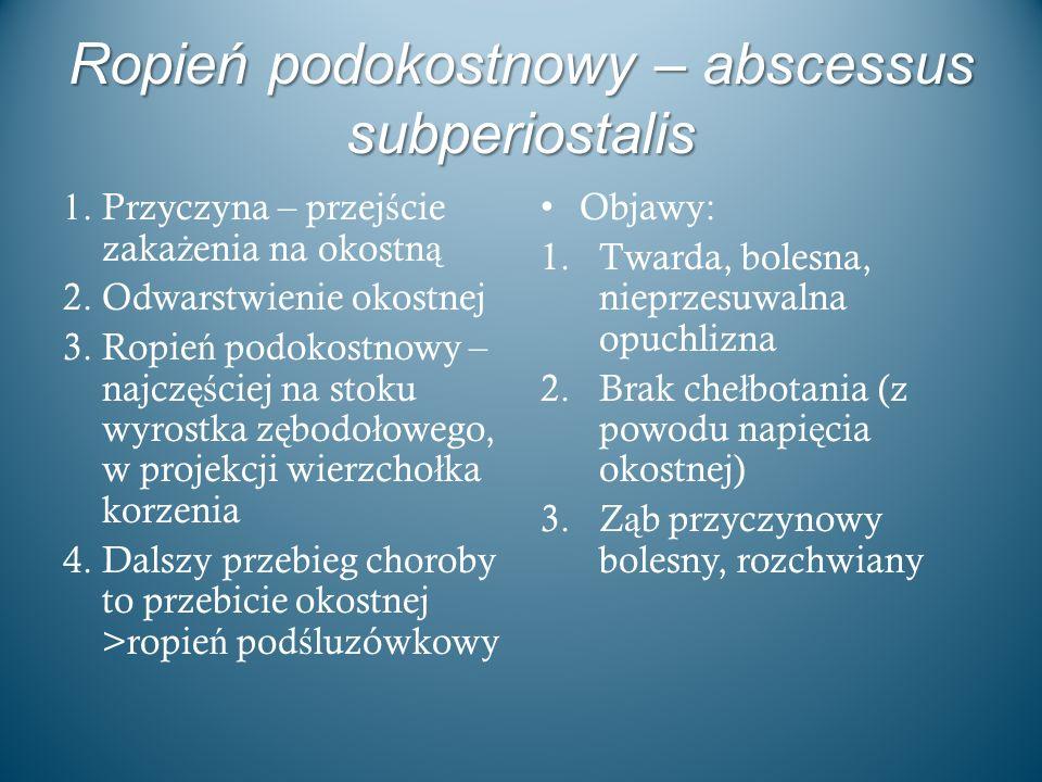 Ropień podokostnowy – abscessus subperiostalis