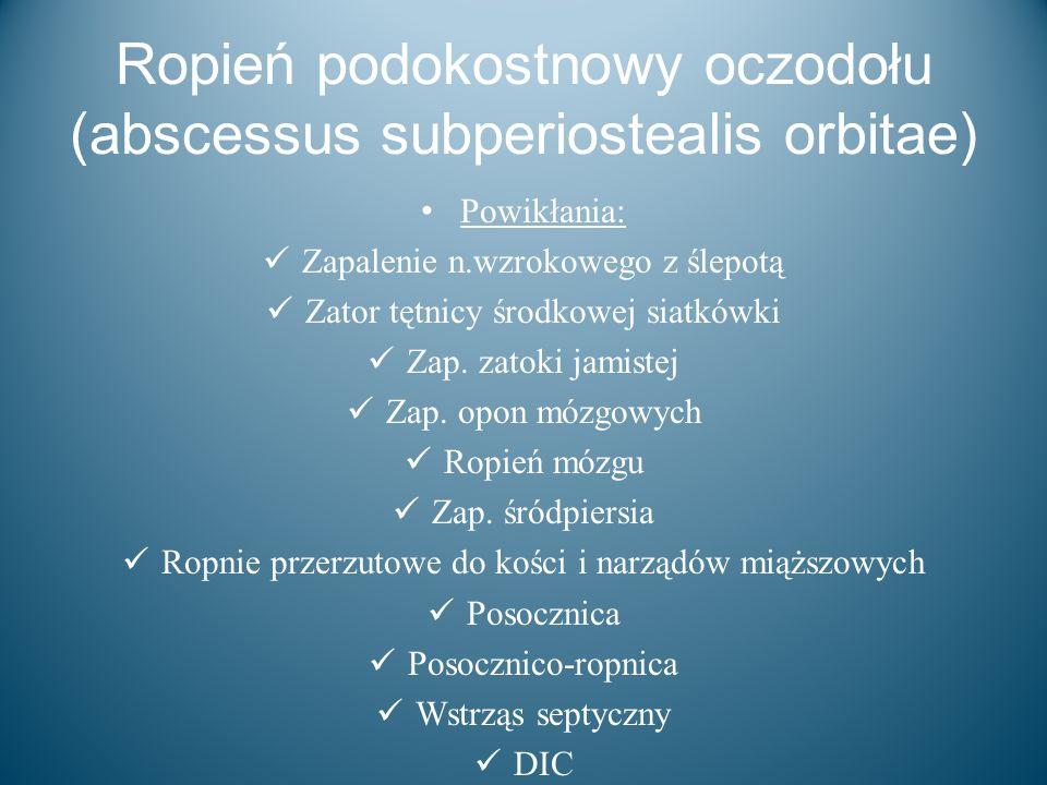 Ropień podokostnowy oczodołu (abscessus subperiostealis orbitae)