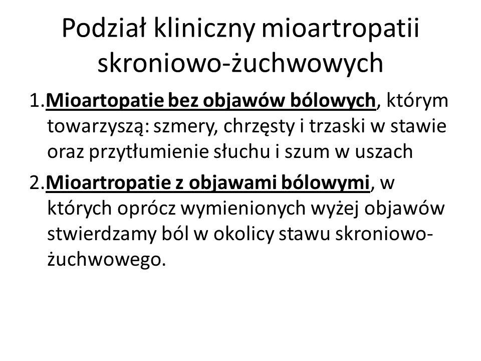 Podział kliniczny mioartropatii skroniowo-żuchwowych