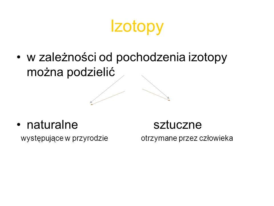 Izotopy w zależności od pochodzenia izotopy można podzielić
