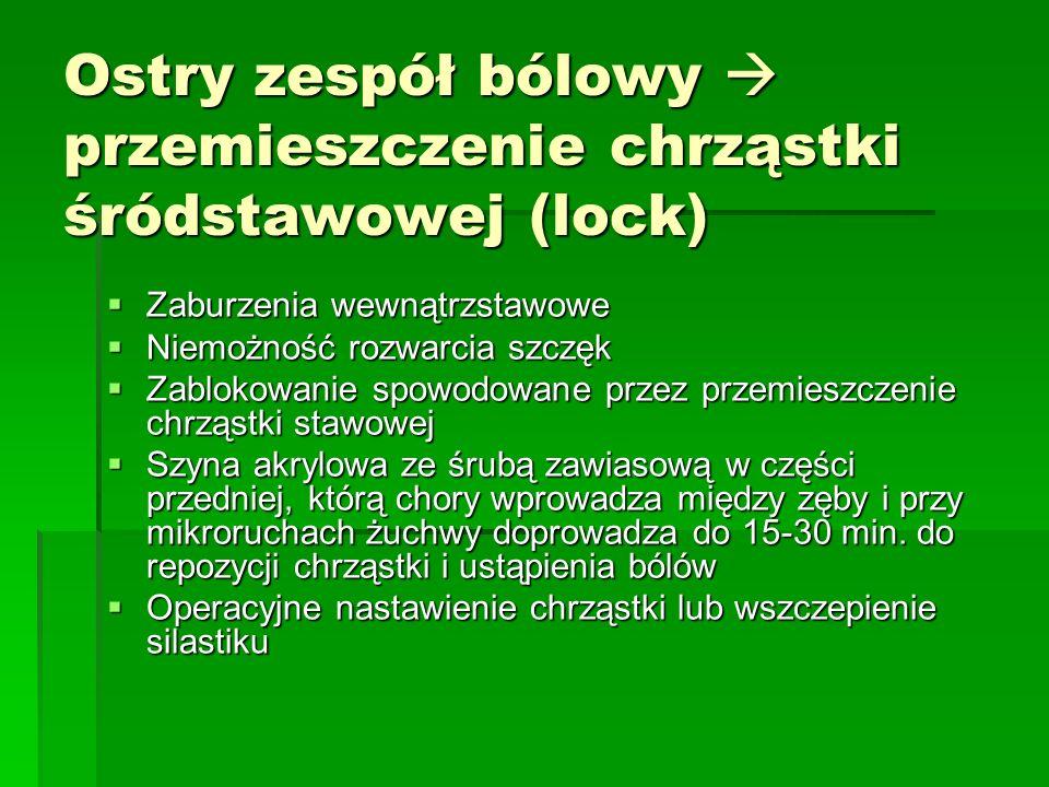 Ostry zespół bólowy  przemieszczenie chrząstki śródstawowej (lock)