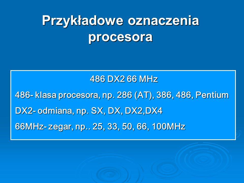 Przykładowe oznaczenia procesora