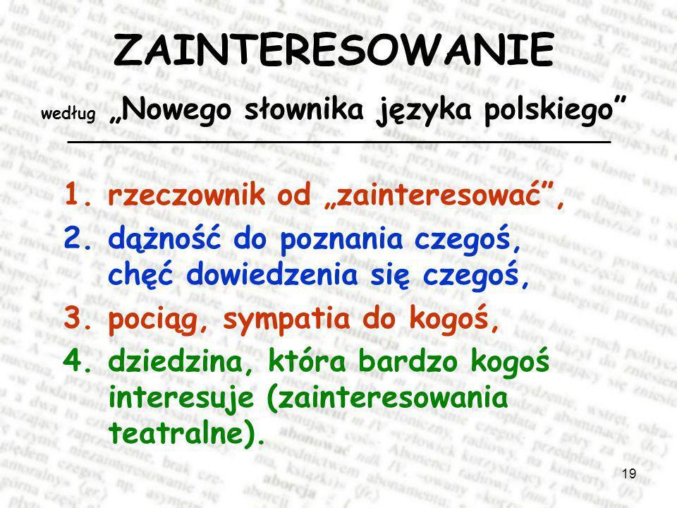 """ZAINTERESOWANIE według """"Nowego słownika języka polskiego"""