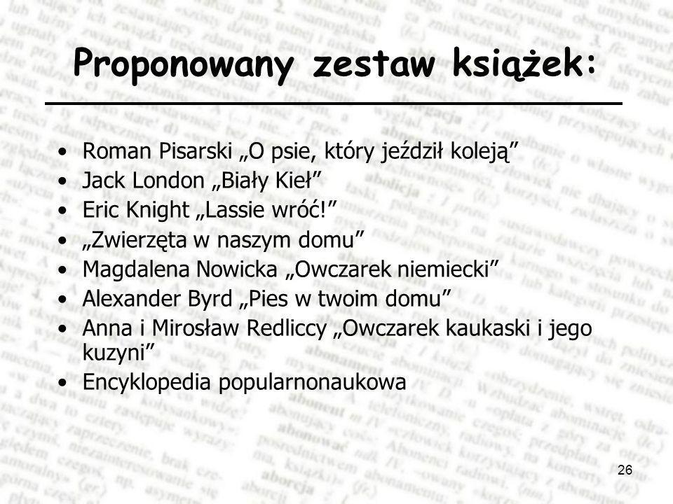Proponowany zestaw książek: