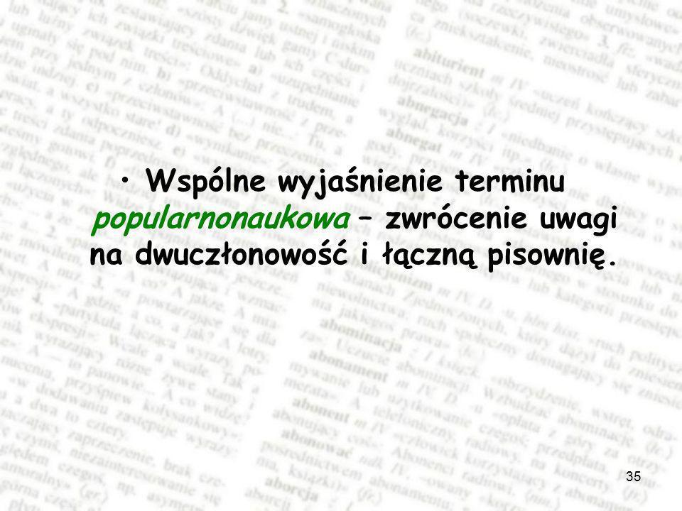 Wspólne wyjaśnienie terminu popularnonaukowa – zwrócenie uwagi na dwuczłonowość i łączną pisownię.