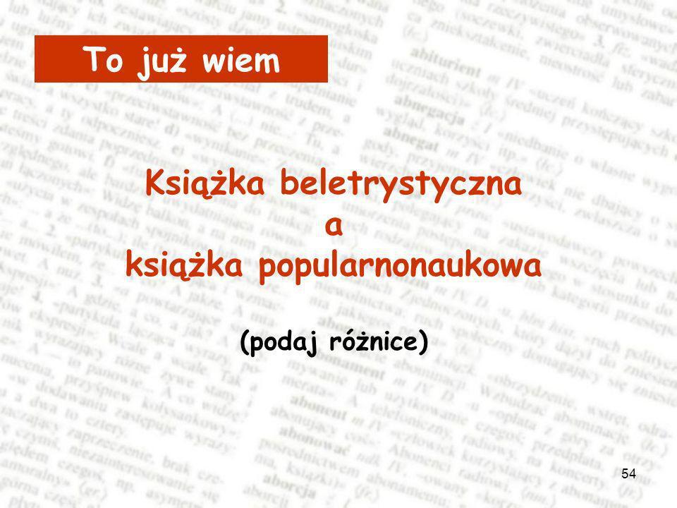 Książka beletrystyczna książka popularnonaukowa
