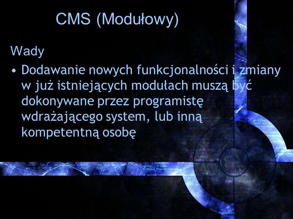 CMS (Modułowy) Wady.
