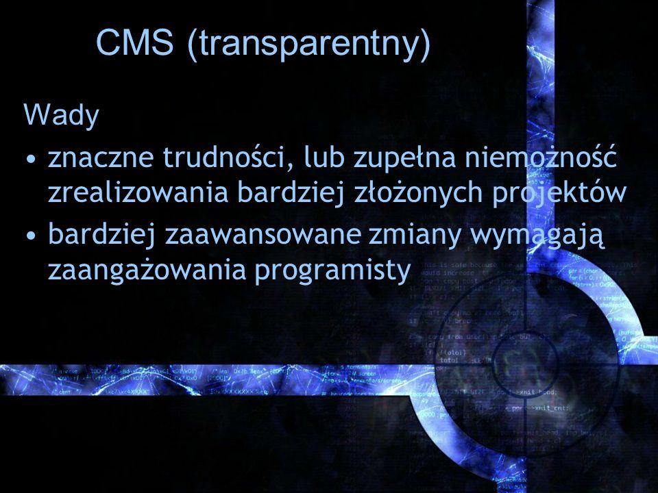 CMS (transparentny) Wady
