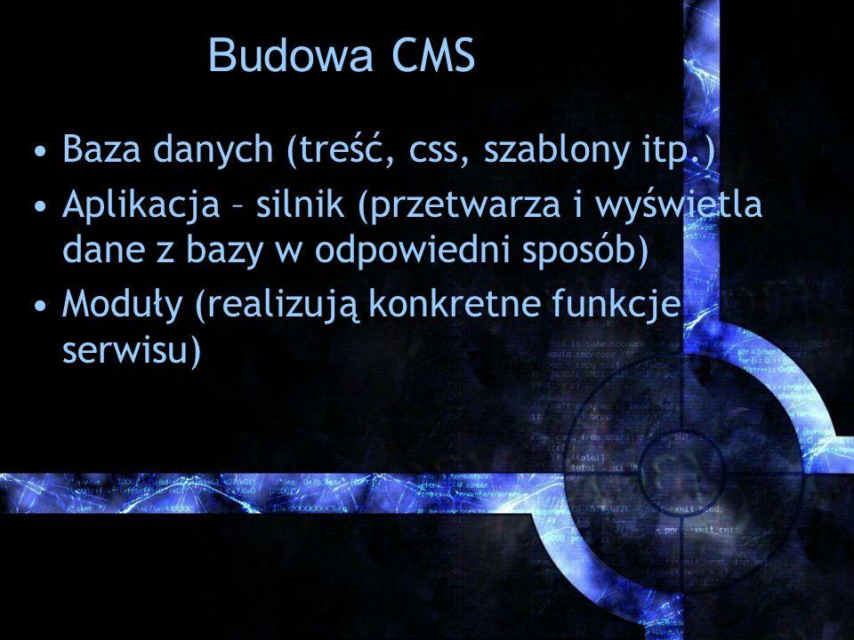 Budowa CMS Baza danych (treść, css, szablony itp.)