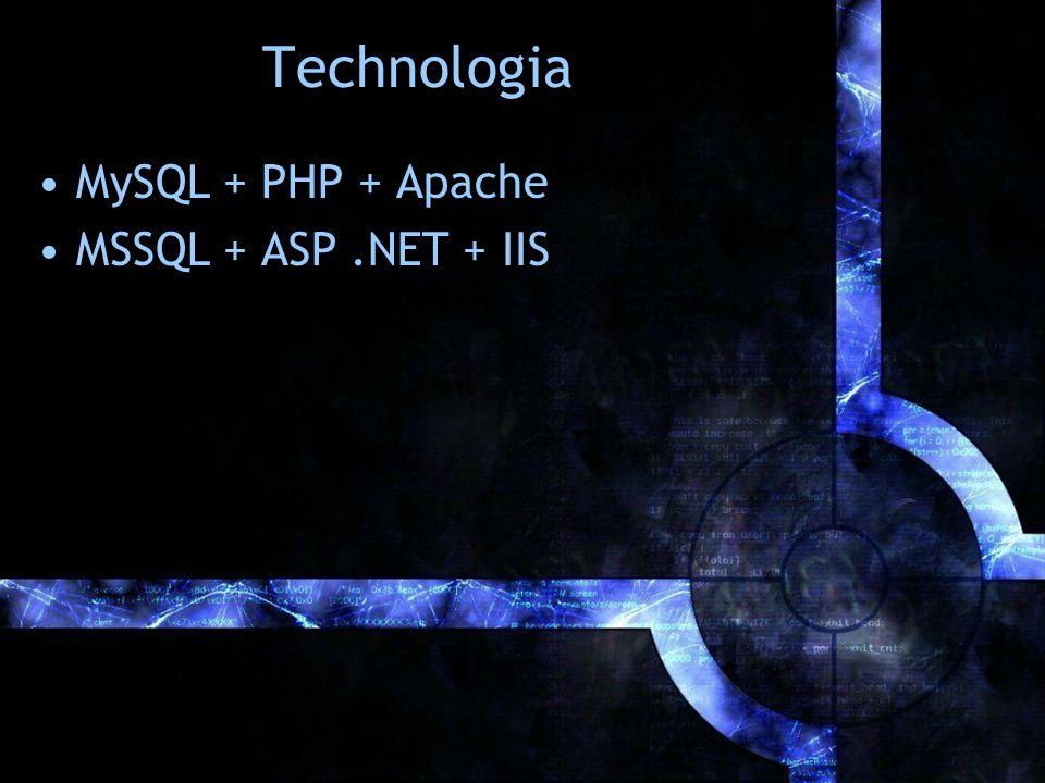 Technologia MySQL + PHP + Apache MSSQL + ASP .NET + IIS