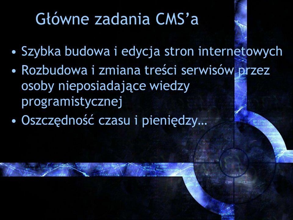 Główne zadania CMS'a Szybka budowa i edycja stron internetowych