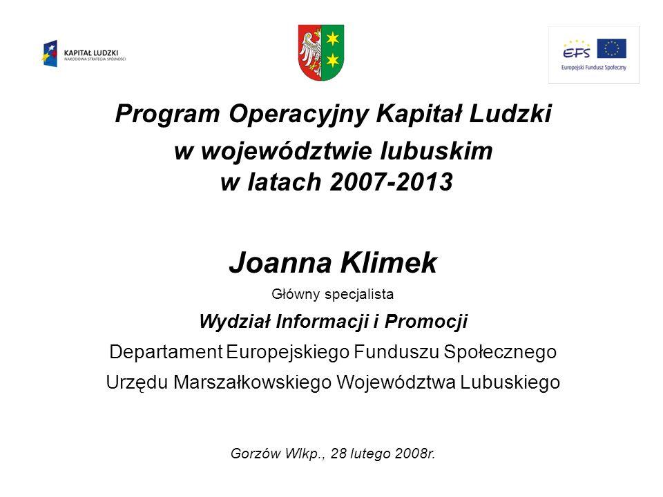 Joanna Klimek Program Operacyjny Kapitał Ludzki