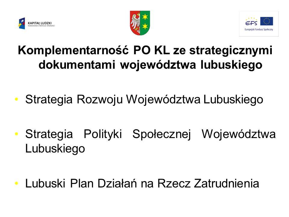 Komplementarność PO KL ze strategicznymi dokumentami województwa lubuskiego