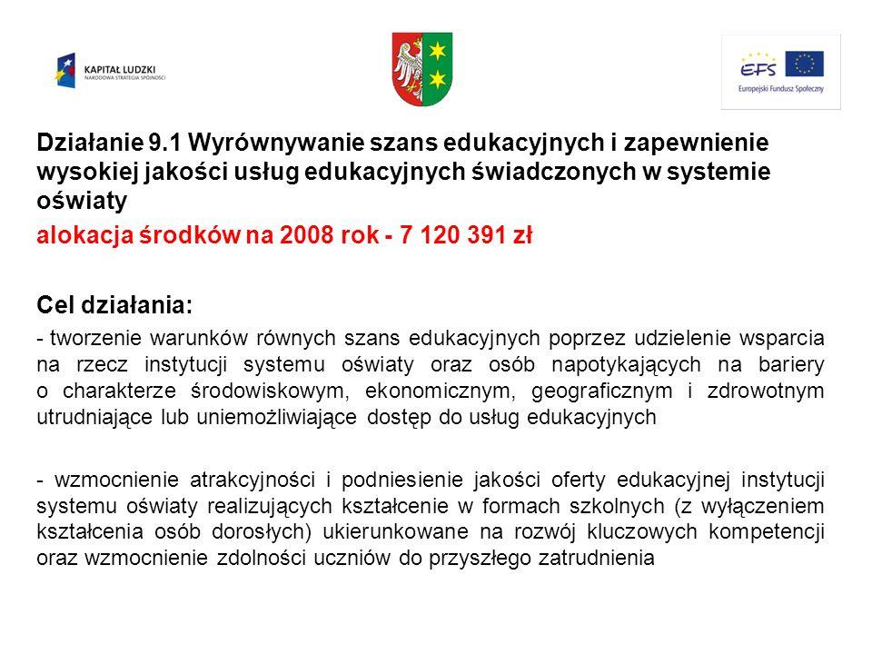 alokacja środków na 2008 rok - 7 120 391 zł Cel działania: