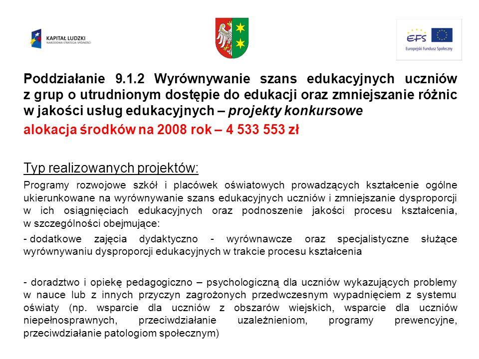 alokacja środków na 2008 rok – 4 533 553 zł