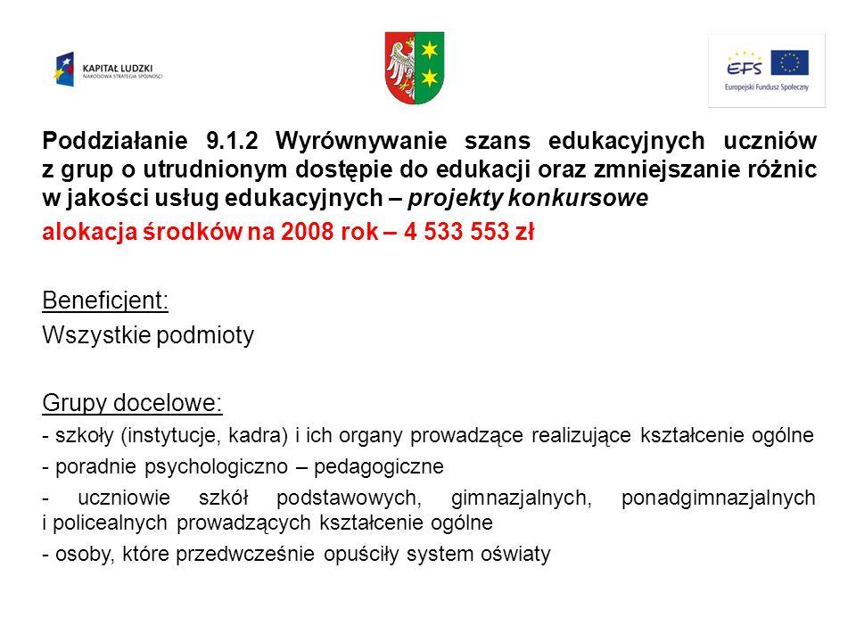 alokacja środków na 2008 rok – 4 533 553 zł Beneficjent:
