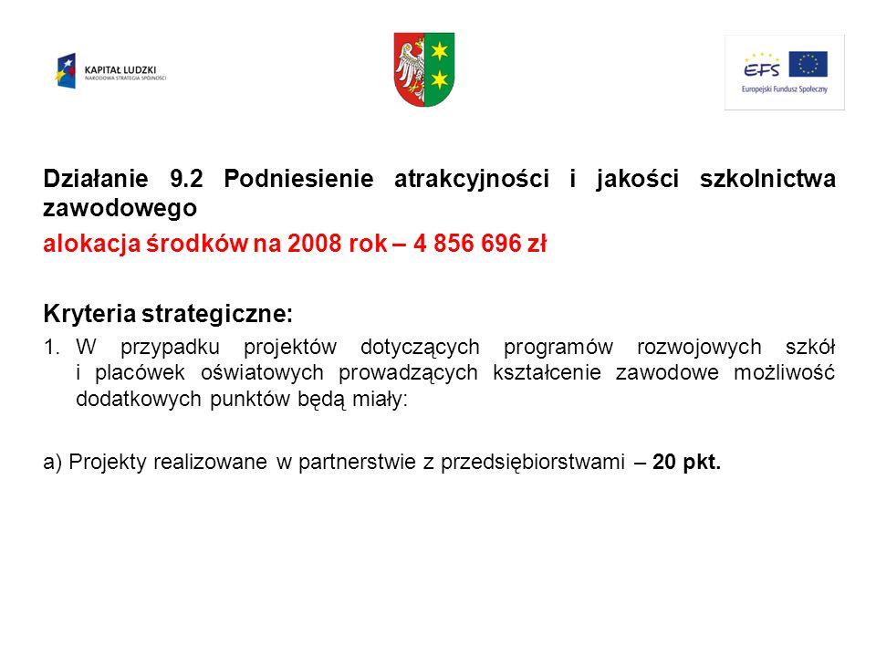 alokacja środków na 2008 rok – 4 856 696 zł Kryteria strategiczne: