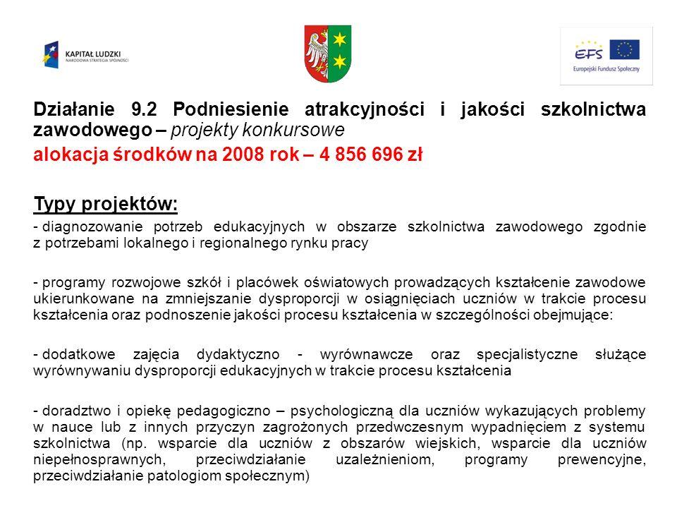 alokacja środków na 2008 rok – 4 856 696 zł Typy projektów: