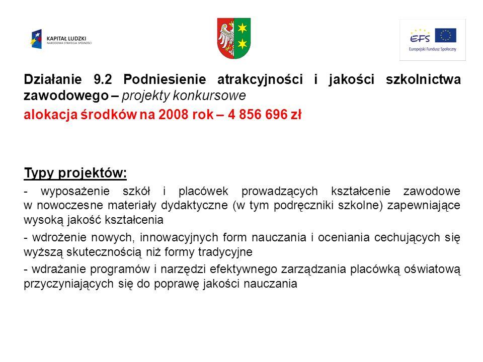 alokacja środków na 2008 rok – 4 856 696 zł