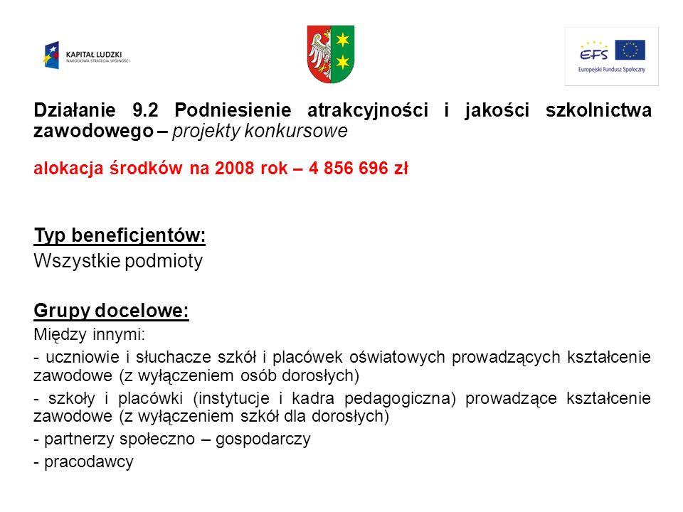 Działanie 9.2 Podniesienie atrakcyjności i jakości szkolnictwa zawodowego – projekty konkursowe
