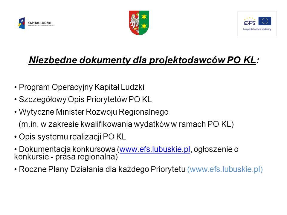 Niezbędne dokumenty dla projektodawców PO KL: