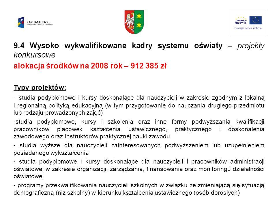 9.4 Wysoko wykwalifikowane kadry systemu oświaty – projekty konkursowe