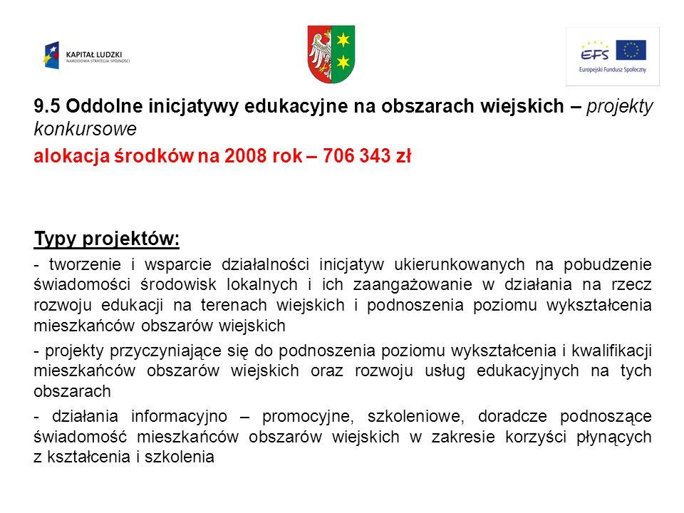 alokacja środków na 2008 rok – 706 343 zł