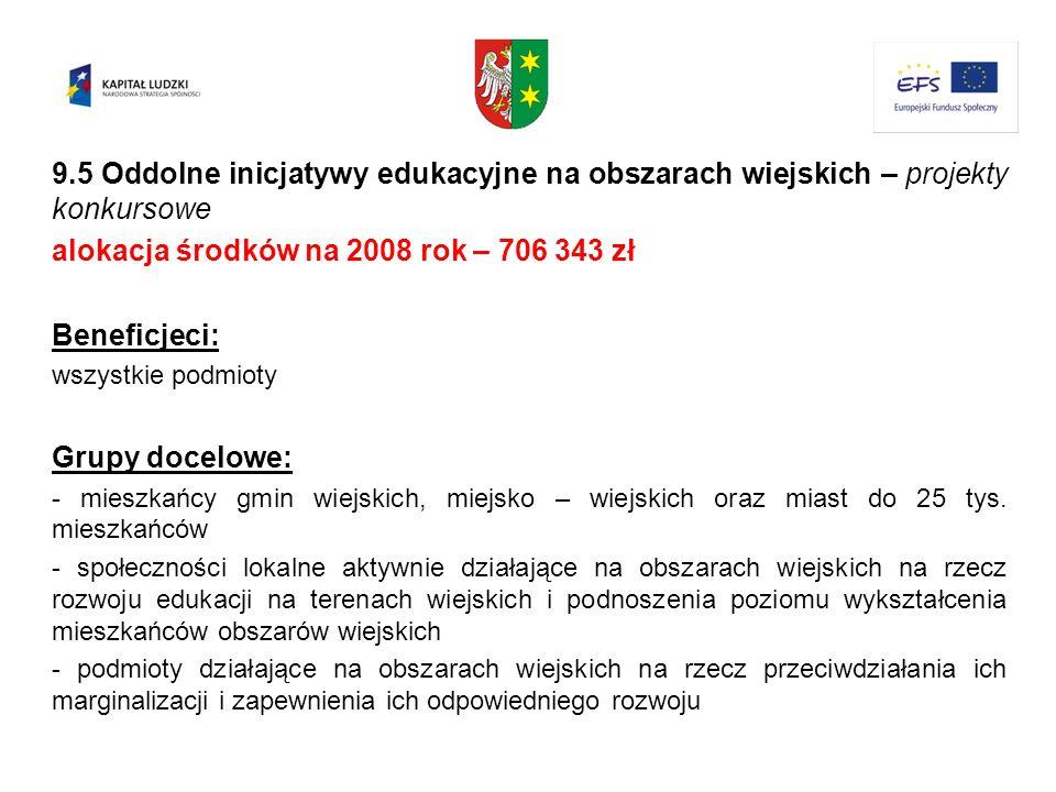 alokacja środków na 2008 rok – 706 343 zł Beneficjeci: