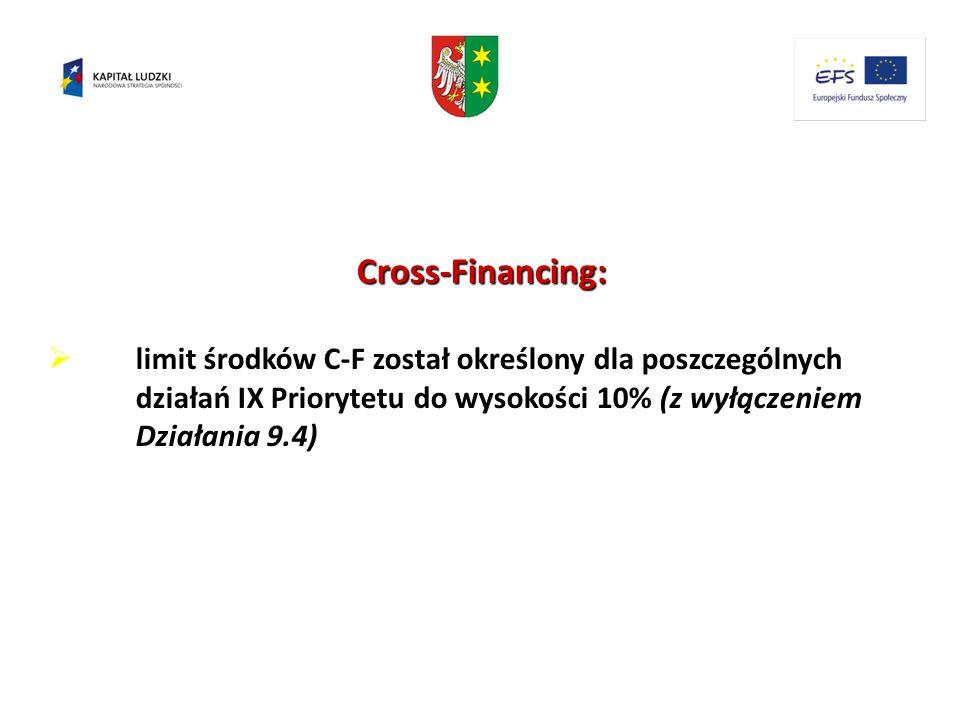 Cross-Financing:limit środków C-F został określony dla poszczególnych działań IX Priorytetu do wysokości 10% (z wyłączeniem Działania 9.4)