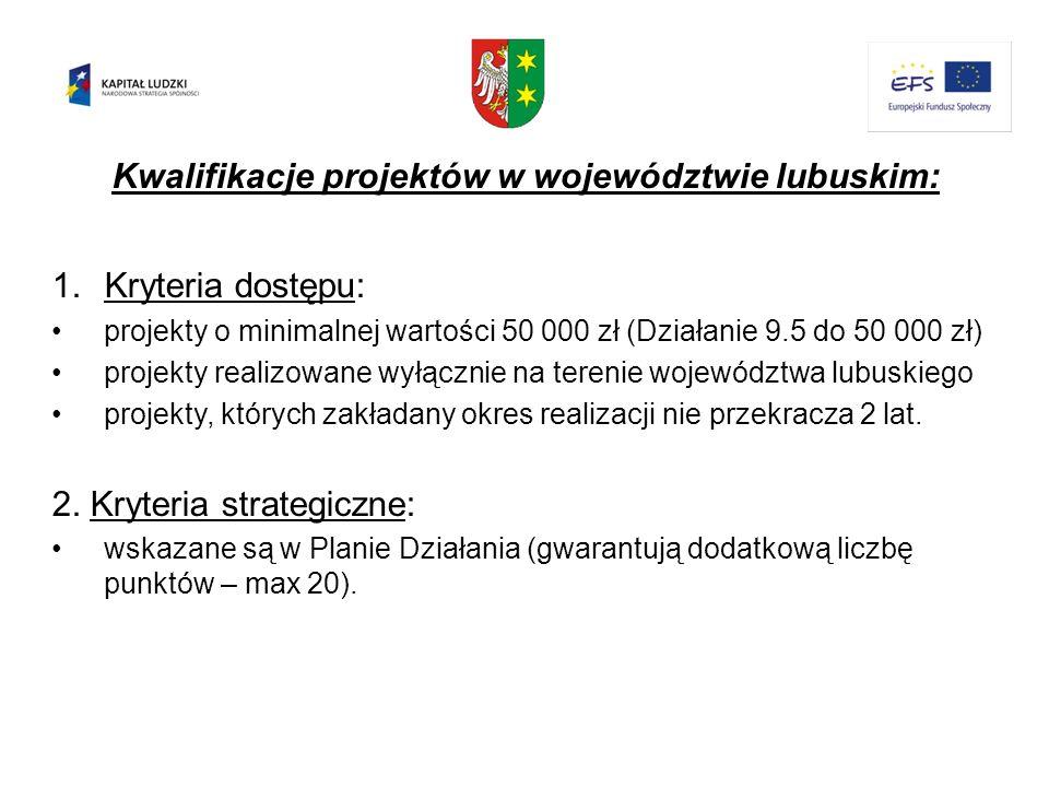 Kwalifikacje projektów w województwie lubuskim: