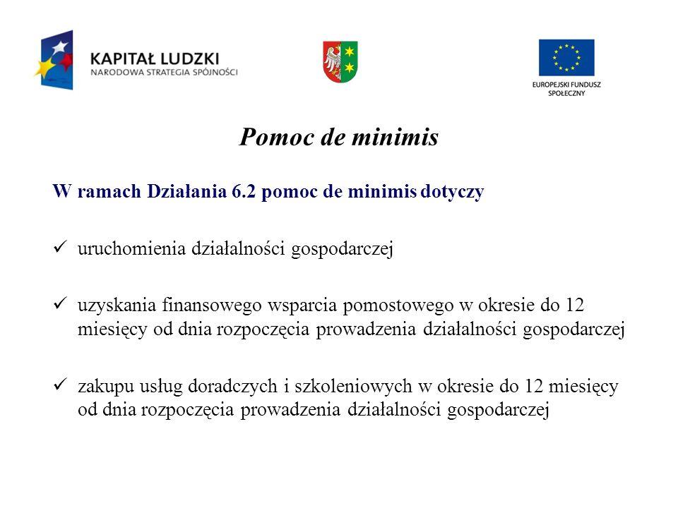 Pomoc de minimis W ramach Działania 6.2 pomoc de minimis dotyczy