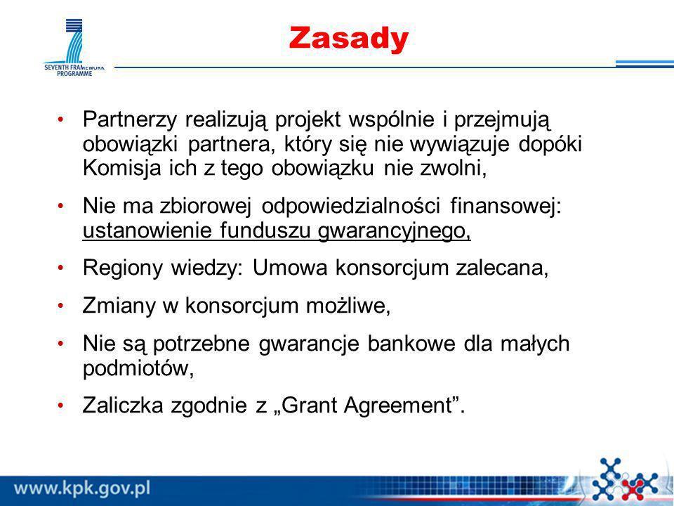 Zasady Partnerzy realizują projekt wspólnie i przejmują obowiązki partnera, który się nie wywiązuje dopóki Komisja ich z tego obowiązku nie zwolni,